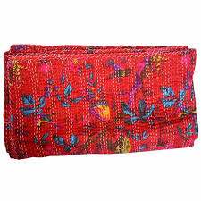 Buy Red Indian Handmade Floral Kantha Quilt for Sale & Red Indian Handmade Floral Kantha Quilt for Sale Adamdwight.com
