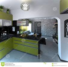 Interior Design For Kitchen And Living Room Open Concept Kitchen And Living Room 3d Rendering Stock Photo
