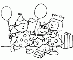 Small Picture Girl Birthday Coloring Pages Girl And Birthday Cake Coloring