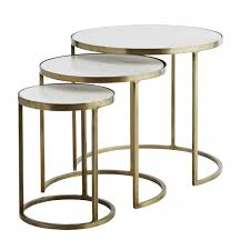 white marble round nesting tables by madam stoltz
