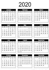 2020 Calendar Free Template Printable Template Calendar