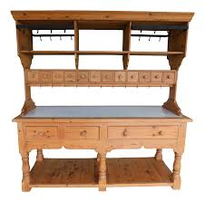 English Georgian Style Pine Marble Top Work Table 2pc Kitchen Island