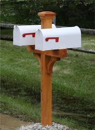 Home Decor Bautiful Mailbox Posts Combine With Cedar Double Post