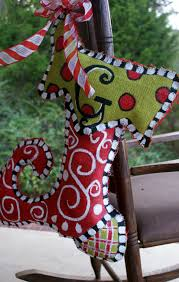 A Little Loveliness: Painted Burlap Stocking Tutorial