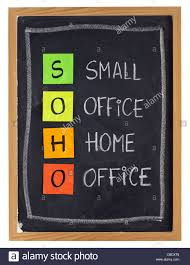 virtual home office. Virtual Office Concept - SOHO Acronym (small Office, Home Office) White Chalk Handwriting And Sticky Notes On Blackboard, Isol R
