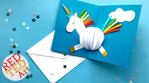 pop up unicorn diy card easy card making ideas red ted art
