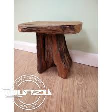 small teak root wood stool side table