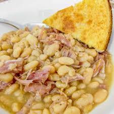 slow cooker ham white beans plain