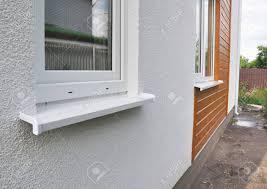 Schließen Sie Auf Fenster In Der Neuen Modernen Passivhaus Gips Und