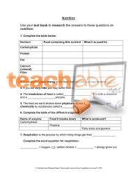 nutrition worksheet ks3
