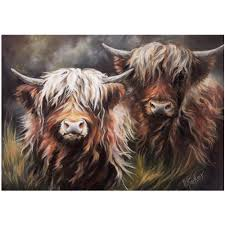 Artko 100cm 'Two Highland Lasses' Canvas by Hilary Barker - Pictures &  Wallart - Old Railway Line Garden Centre