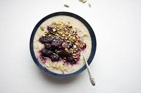 sprouted quinoa porridge with cardamom blackberry sauce