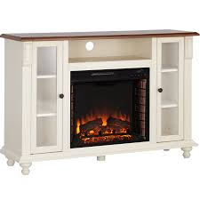 southern enterprises carlinville electric fireplace tv stand antique white w walnut