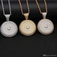 whole hip hop round circle cer medallion pendant necklace with rope chain full iced out cubic zirconia copper jewelry necklace charm bracelets from