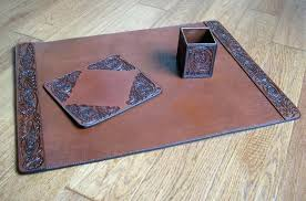 brown leather desk accessories tooled leather desk set western style gifts brown faux leather range desk