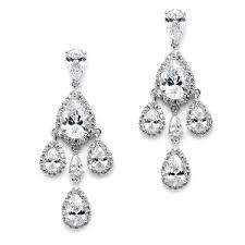 tori petite clip on cz chandelier earrings with teardrops