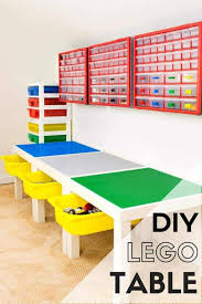 diy lego table with storage underneath and on walls