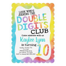 Tie Dye Double Digits 10th Birthday Invitation Candied Clouds