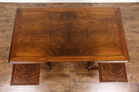 walnut burl 1940 s vintage library or executive desk signed lyfetime chicago photo 4