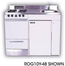 acme full feature kitchenettes rog10y51 compact kitchen stainless steel countertop 4 gas burners oven