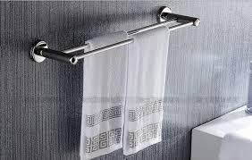bath towel holder. Bathroom Towel Holder Stainless Steel Rack Double Pole Bath Hanging Accessories Simple Bar O