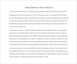Sample Obituary For Father In Word Doc Obituary Template Father