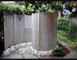 spiral outdoor shower with cool rock work