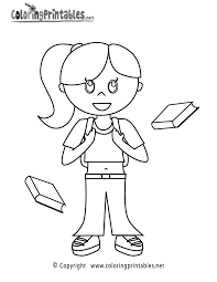 School Girl Coloring Page A Free Girls Coloring Printable with Printable Girl Coloring Pages download or right click the image to save or set as desktop on coloring set for girls