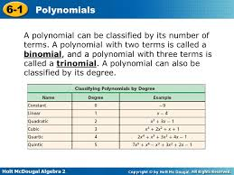 Classifying Polynomials By Degree And Number Of Terms Chart Holt Mcdougal Algebra Polynomials Identify Evaluate Add