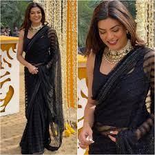 Shusmita Sen in black saree with choker - K4 Fashion