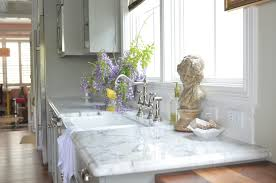 simple kitchen design with white carrara marble kitchen countertops stainless steel 2 handle high arc