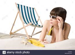 Flip Flop Chair Beach Woman In Bikini With Drink And Flip Flop On Sand Deck