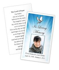 Funeral Prayer Cards Celestial Dove Prayer Card Template Funeral Card