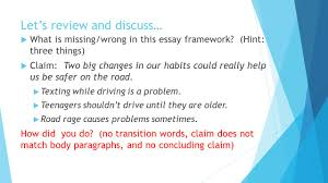 informative essays setting up our claims and ideas ppt  what is missing wrong in this essay framework