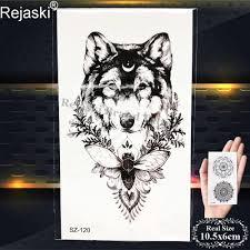 Rejaski черный временные татуировки наклейки мужская мода тело рука волк поддельные татуировки эскиз моль вода переводная татуировка женский
