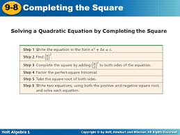 11 solving a quadratic equation by completing the square solving a quadratic equation by completing the square