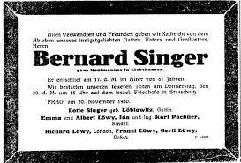 Bernard Singer (1849 - 1930) - Genealogy