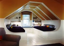 Stately Modern Twin Attic Bedroom Designs With Double White Platform Beds  As Well As Floating Shelves Windows Seat And Brown Couch Decors