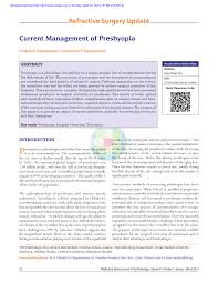 Pdf Current Management Of Presbyopia