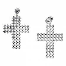 <b>Серебристые серьги</b>-кресты с жемчугом и кристаллами - купить ...