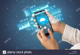 Financial Tracking Female Hand Using Smartphone With Financial Tracking Concept