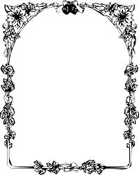 壁紙背景イラスト花のフレーム外枠 No003白黒切り絵風柵