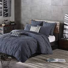 ink ivy masie duvet cover full queen size navy elastic embroidery tufted ruffles duvet cover set 3 piece 100 cotton percale light weight bed