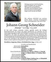 Johann Georg Schneider Todesanzeige Vn Todesanzeigen