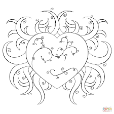 Small Picture Fancy Heart coloring page Free Printable Coloring Pages