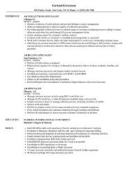 Ar Specialist Resume Samples Velvet Jobs