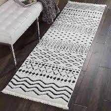 nourison la moroccan white black fringe runner rug 2 2 x 7