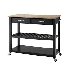 Crosley Kitchen Cart With Granite Top Crosley Black Kitchen Cart With Natural Wood Top Kf30051bk The