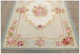 aubusson rug 3x5 vintage french pastel blue ivory pink