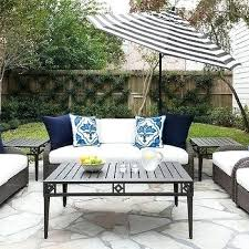 gray wicker outdoor dining set black patio furniture with blue cushions and chevron m dark coffee table concrete planters